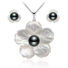 Diseño exclusivo de talla de Shell Perla conjuntos de joyas para las mujeres Negro Perlas Colgante de Collar Y aretes de joyería Fina perla