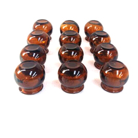 12 pcs Thick brown vacuum set explosion proof glass cupping pure hand colored acupuncture massage cup