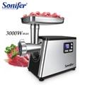 3000 W Acero inoxidable pantalla LCD de 5 velocidades trituradoras de carne electricas embutidora picadora de carne de alta resistencia para el hogar Sonifer