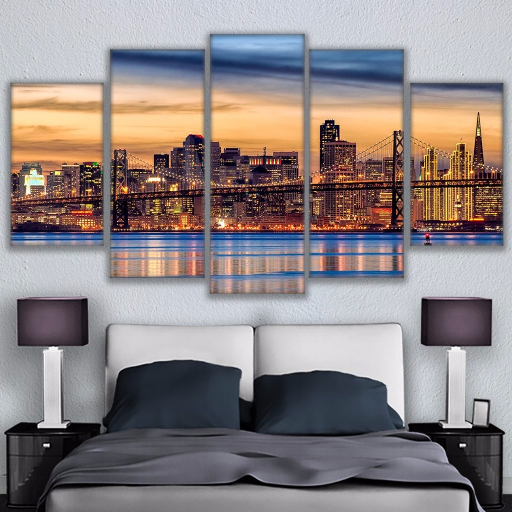 Canvas Wall Art Pictures Framework Living Room Prints Posters 5 Pieces San Francisco Twilight Bridge Sunset Paintings Home Decor no frame canvas