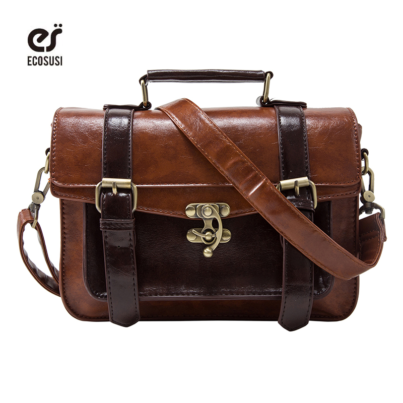 940434c37c Ecosusi Women Vintage Messenger Bags Leather Bag Satchel Briefcase Crossbody  Bag Retro Women Handbag Fashion Classic Mori Girls