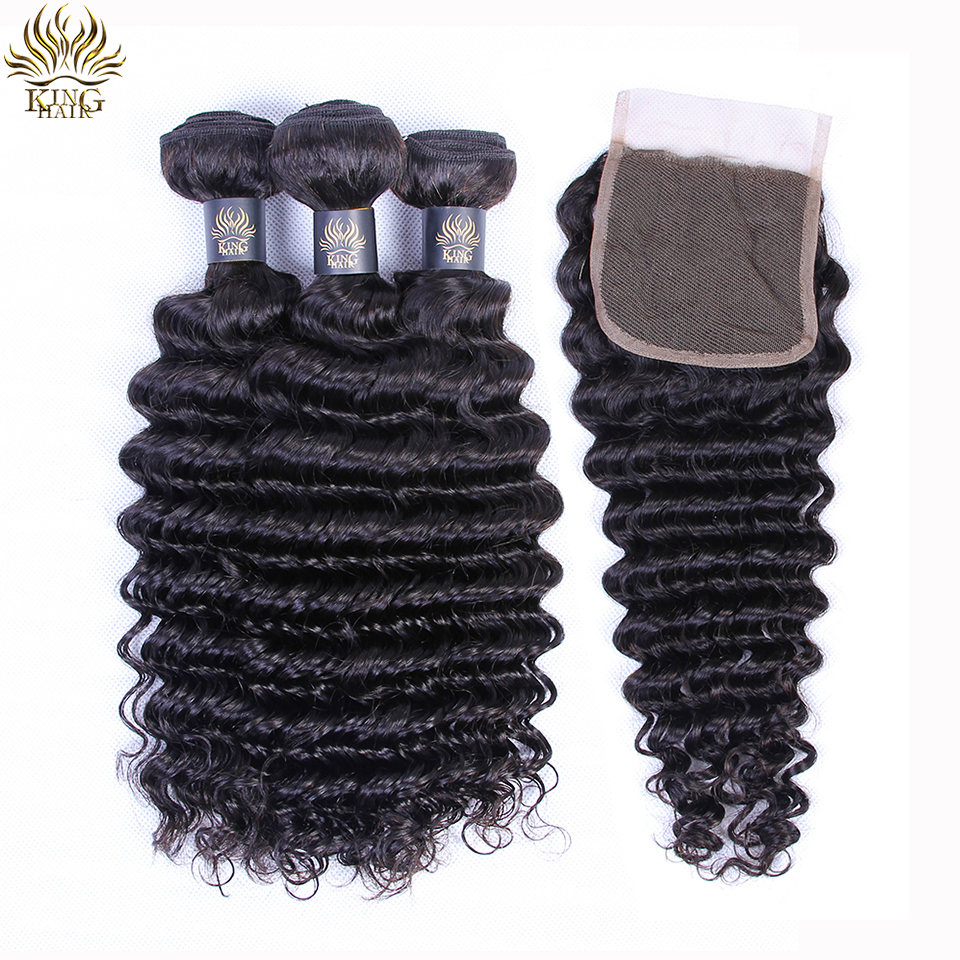 King Hair Human Hair Bundles With Closure 4PCS Peruvian Deep Wave Hair Weaving Extensions With 4*4 Remy Hair Swiss Lace Closure