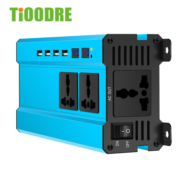 Car Power <font><b>Inverter</b></font> <font><b>2000W</b></font> LED DC <font><b>24V</b></font> To AC <font><b>220V</b></font> DC 12v To AC <font><b>220v</b></font> Sine Wave With Display Converter With 4 USB No Pollution image