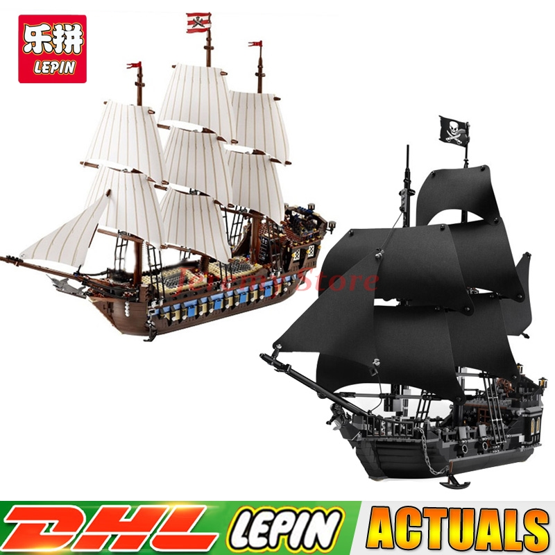 DHL LEPIN 16006 Black Pearl Ship+22001 Pirate Ship Imperial Warships Model Building Kits Block Briks Clone 10210 4184 in stock new lepin 22001 pirate ship imperial warships model building kits block briks toys gift 1717pcs compatible10210