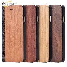 Kisscase для iPhone 6 6 S 7 Plus натурального дерева, бамбука чехол для iPhone 6 S плюс coques для iPhone 7 Plus откидная крышка кожаный бумажник