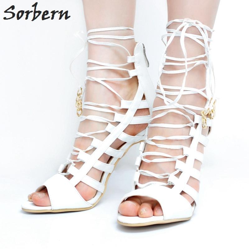 Фотография Sorbern White Women Sandals Bridal Wedding Shoes Lace Up High Heels Peep Toe Designer Shoes Women Luxury 2017 Cheap Modest Shoes