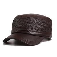 Men's Sheepskin Baseball Hats Male Flat topped Genuine Leather Hat Men's Latticed Middleaged Warm Baseball Hat Adjustable B 9485