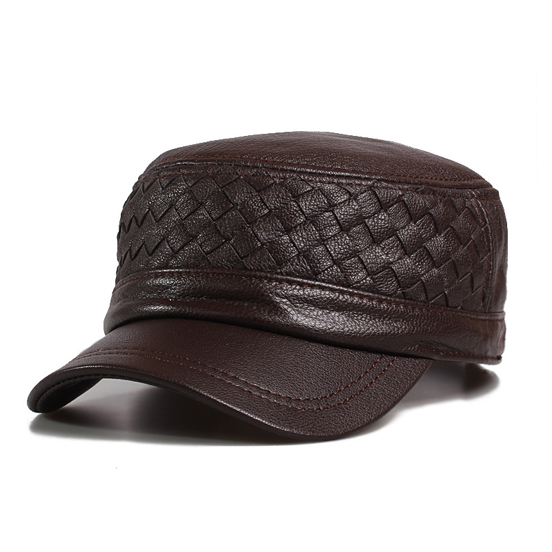 Men's Sheepskin Baseball Hats Male Flat-topped Genuine Leather Hat Men's Latticed <font><b>Middleaged</b></font> Warm Baseball Hat Adjustable B-9485 image