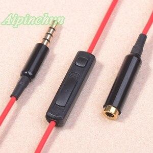 Aipingun 3.5mm 4-pole jack cabo de extensão de áudio linha extensor cabo com controlador de microfone para fone de ouvido