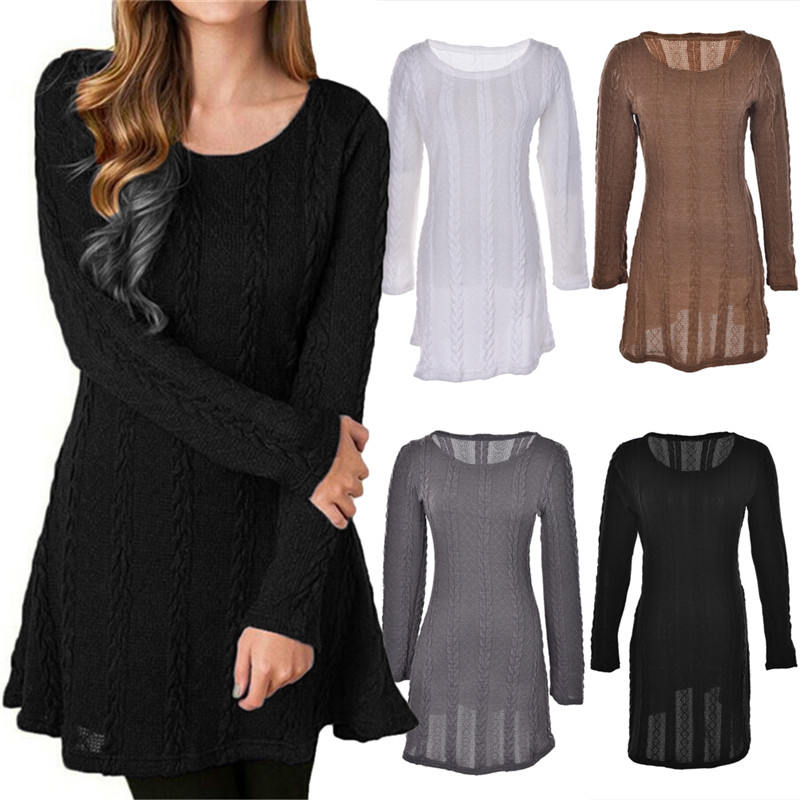 Women Warm Long Sleeve Dress Vestidos Winter Christmas Dress Knitted Sweater Mini Bandage Dresses S-5XL Plus Size Solid Color