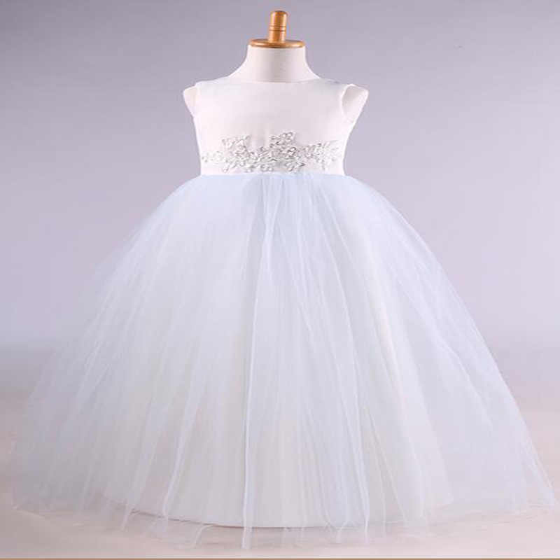A-Line Flower Girl Dresses White Real Junior Dresses Little Girls Kids/Children Dress for Wedding Tulle Mother Daughter Dresses