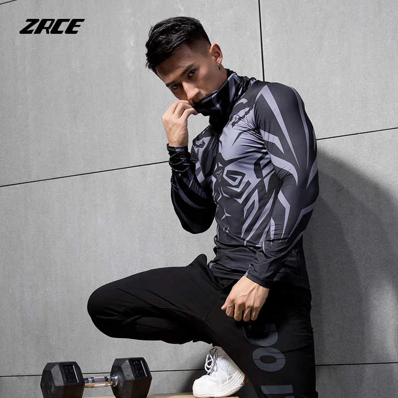 ZRCE breathable high-elastic Anti-fading pullover compression tops fitness cycling running sport male shirt long-sleeved T-shirt