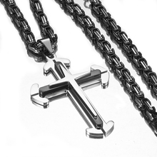 Multilayer Cross Pendant Necklace for Men Silver Black Color Stainless Steel 4mm Byzantine Jewelry