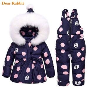 Image 2 - 2020新冬子供服セット暖かいパーカーダウンジャケット女の赤ちゃんの服子供のコートの雪の摩耗子供スーツ