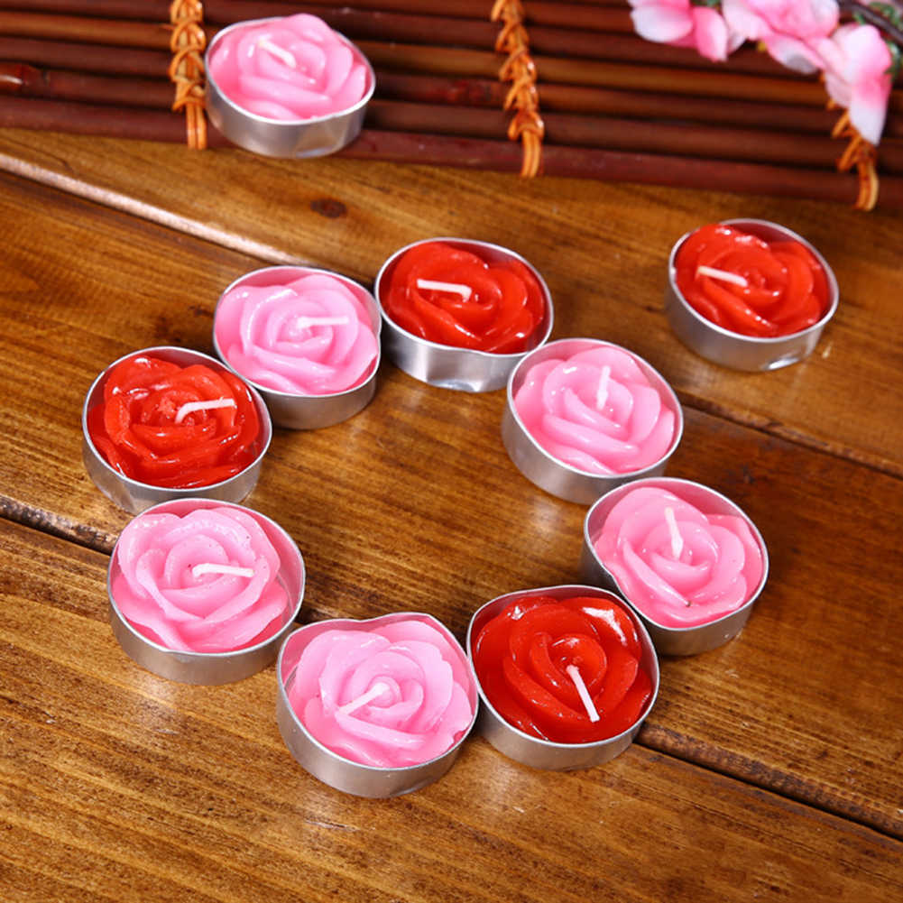 2018 New arrival 12PCS Rose Candles Valentine's Day Happy Birthday Party Gift Candle Romantic Express Love Home Wedding Decor