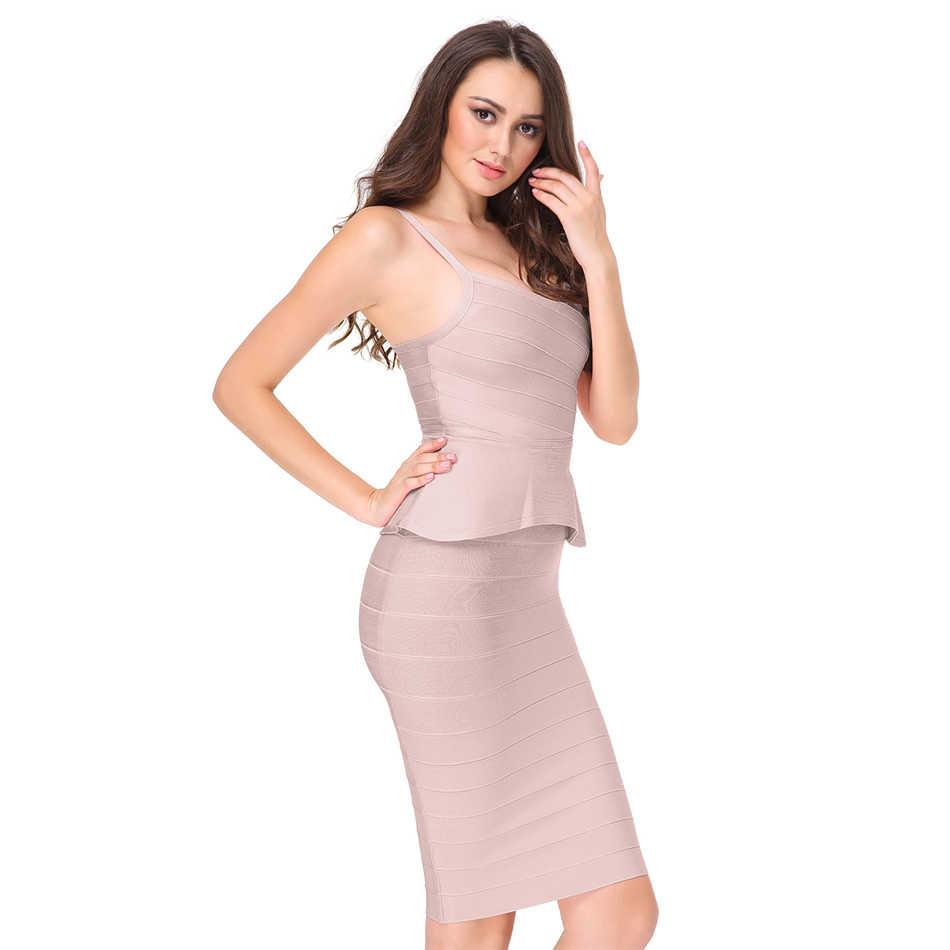 Seamyla/пикантные комплекты из 2 предметов летнее облегающее Бандажное платье на бретельках Новые Клубные вечерние платья знаменитостей Vestidos