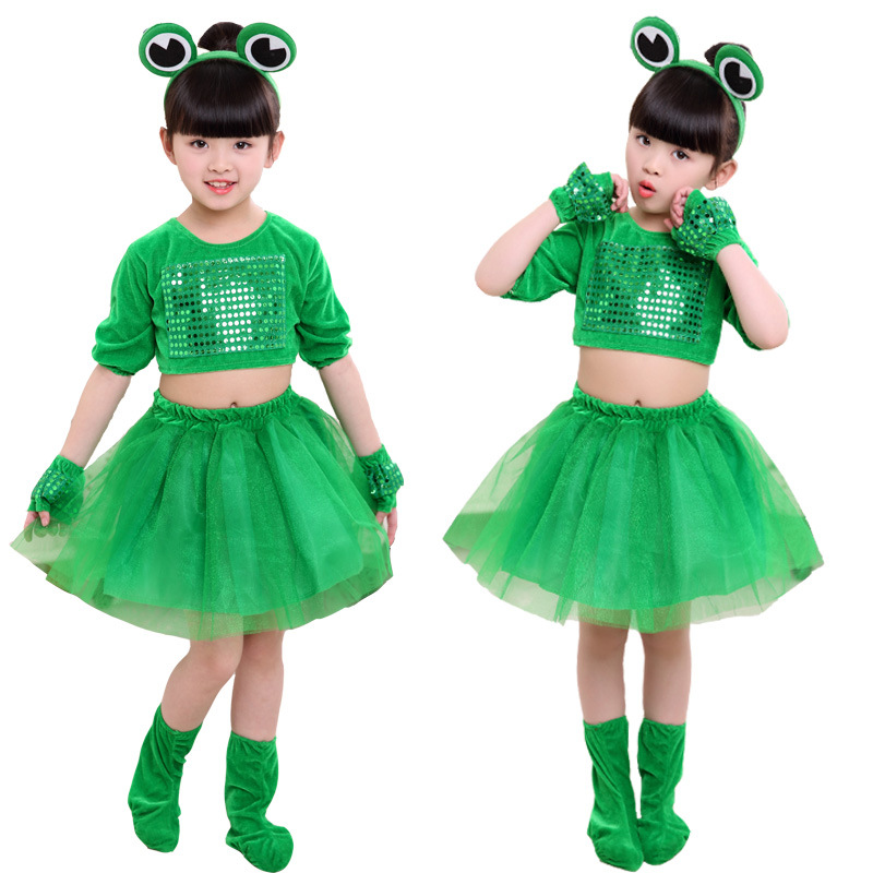 Children Stage Show Clothes Boy or Girl Carton Frog Cosplay Costumes Students Stage Play Performance Apparel for Kids