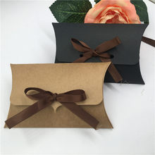 20Pcs 12.5x8x2.5cm Kraft Tricolor Paper Pillow Jewelry Box With Free Stickers And Pink Brown Ribbons Display Packaging Jewllery(China)
