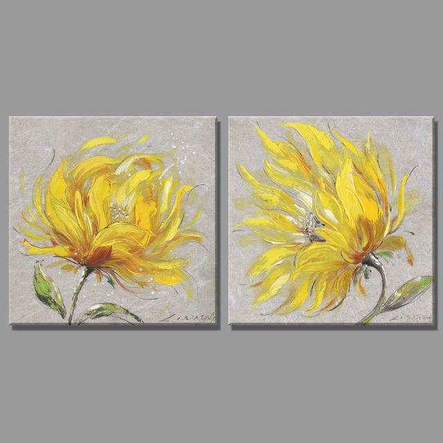 2 Piece yellow flowers canvas art pictures deco paintings oil ...