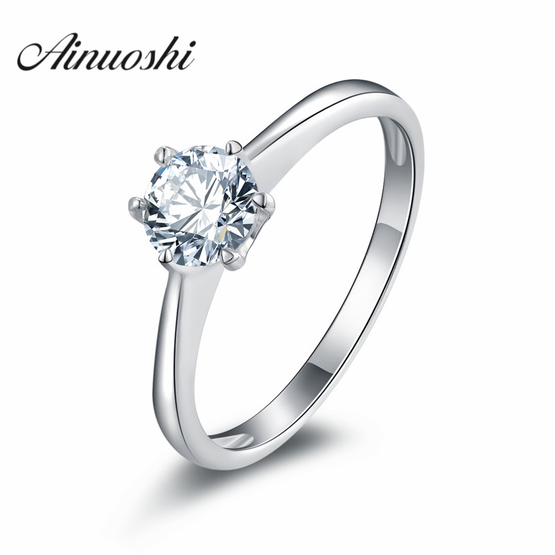 AINUOSHI Anniversary Solitaire Ring SONA Engagement Wedding Ring 925 Sterling Silver Bridal Band Wedding Rings For Women Jewelry
