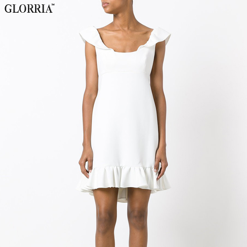 Glorria mujeres sexy espalda abierta ruffles mini dress party fashion lady stree