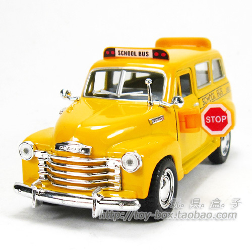 Chevrolet long soft world school bus WARRIOR alloy toy car model gift