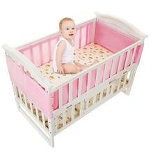 Baby Breathable Mesh Crib Liner Four Seasons 3D Breathable Baby Anti-Collision Bedding Kit Detachable Sandwich Crib Liner