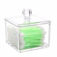 Square Acrylic Cosmetic Organizer Cotton Ball Pad Holder Storage Box Makeup Case Container Single Tier Transparent