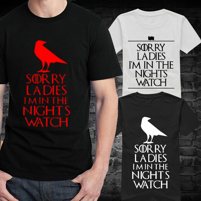 New Male Night's Watch T Shirts Men Round Neck Short Sleeve Summer Style Game of Thrones Tee Shirt Vintage Boy t-shirts