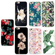 Soft Silicone Phone Case For iphone 7 Leaf Plants Colorful TPU Fundas Capa Case For iphone 6 6s 8 8plus 5 5s SE Cases