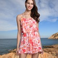 Euro style sleeveless braces rompers fashion Sexy print floral woman playsuits V-neck backless loose mini Women Jumpsuits K42