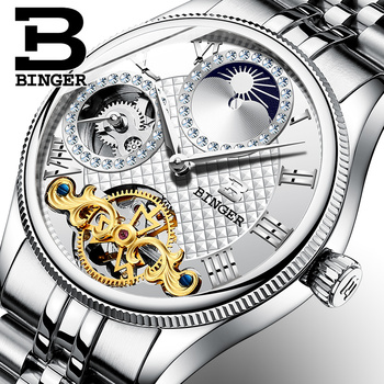 New Automatic Mechanical Men Watches BINGER Luxury Brand Skeleton Wrist Waterproof Watch Men sapphire Diamond Male Clock B1175-2