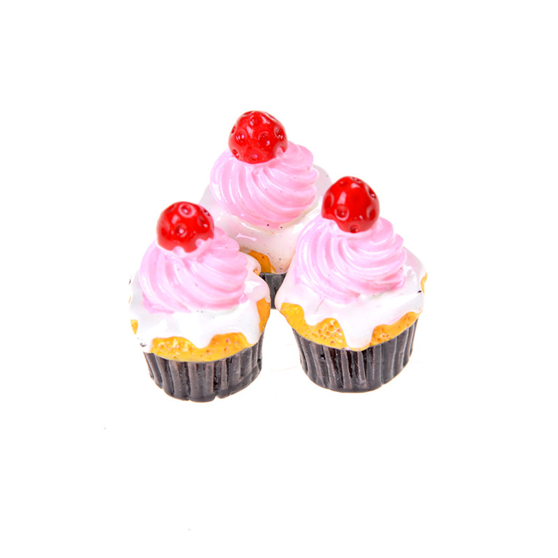 3Pcs Miniature Food Models Strawberry Cakes Dollhouse Accessories