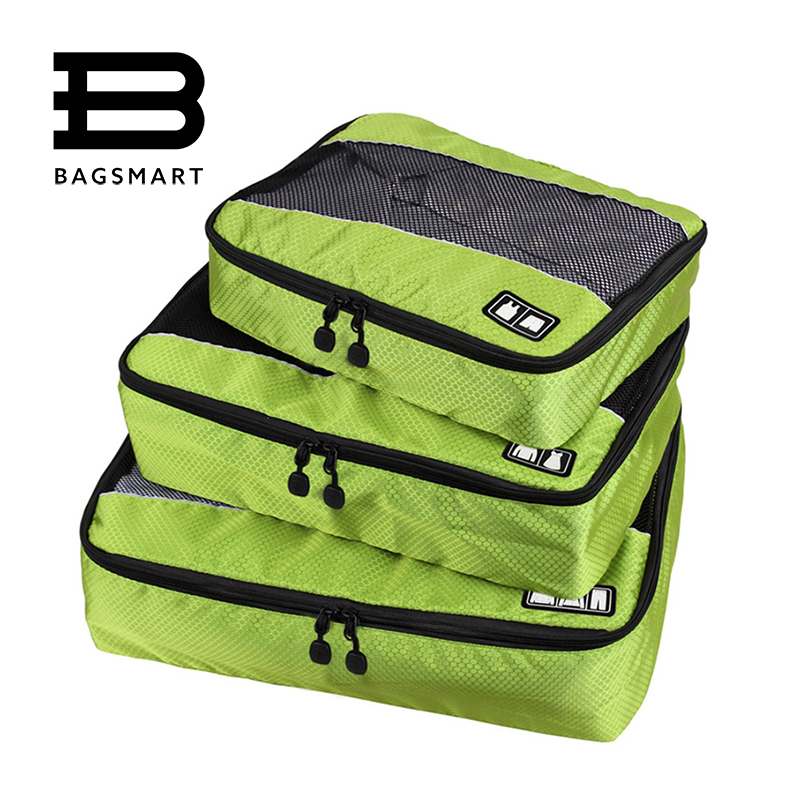 3 Pcs Set Nylon Unisex Packing Cubes For Clothes Lightweight Luggage Travel Bags For Shirts Waterproof