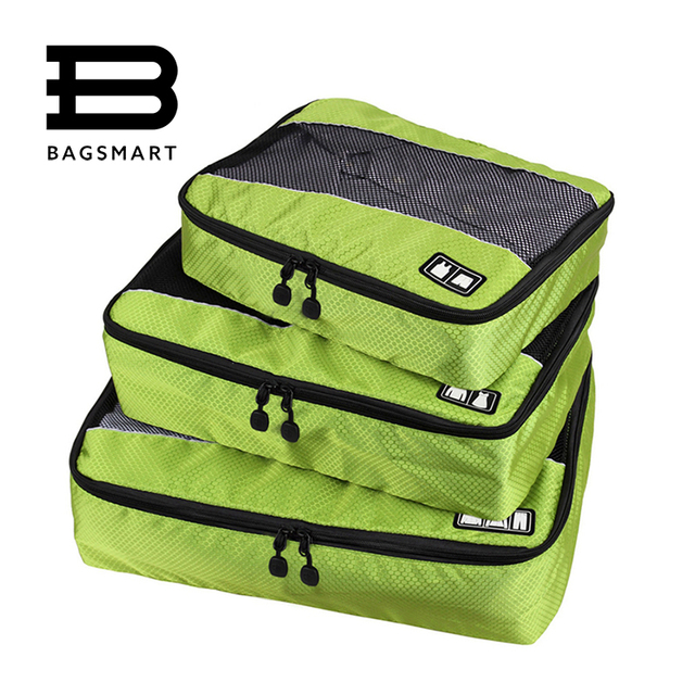 3 Pcs/Set Nylon Unisex Packing Cubes For Clothes Lightweight Luggage Travel Bags For Shirts Waterproof Duffle Bag Organizers