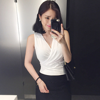 Tank Top Women Vest Summer 2016 White Crop Tops Cropped Sexy Deep V Neck Top Cotton