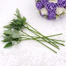 Long 35CM Wire + plastic Artificial Fake Rose Flower Stems For DIY Handmade Bouquet Leaf Vein Wedding Home Decoration 1PC