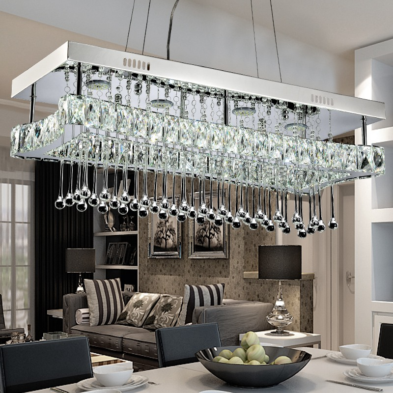 Modern Design Suspension Lamp Rectangle Rain Drop Lighting Fixture Crystal Chandelier for Dining Room modern crystal chandelier rain drop rhombus design ceiling light fixture stairs chandelier duplex rotary lamp villa led lamps