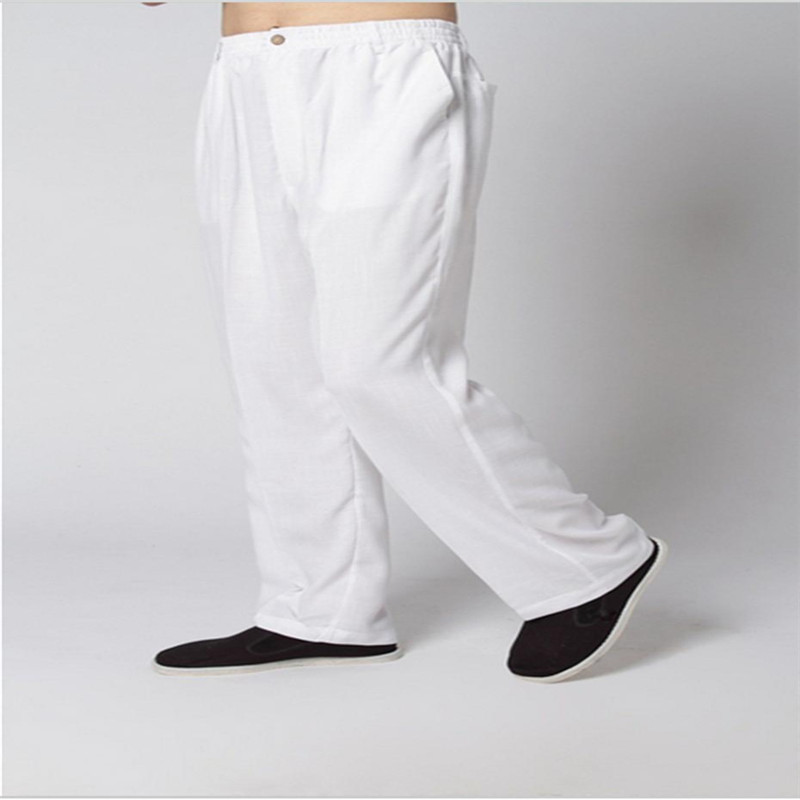 White Linen Pants Men Long Trousers Plus Size Chinese Kung Fu Pants