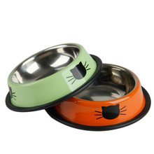 Thickened Non-slip Dog Cat Pet Food Water Bowl Utensils Rice Single Stainless Steel Products
