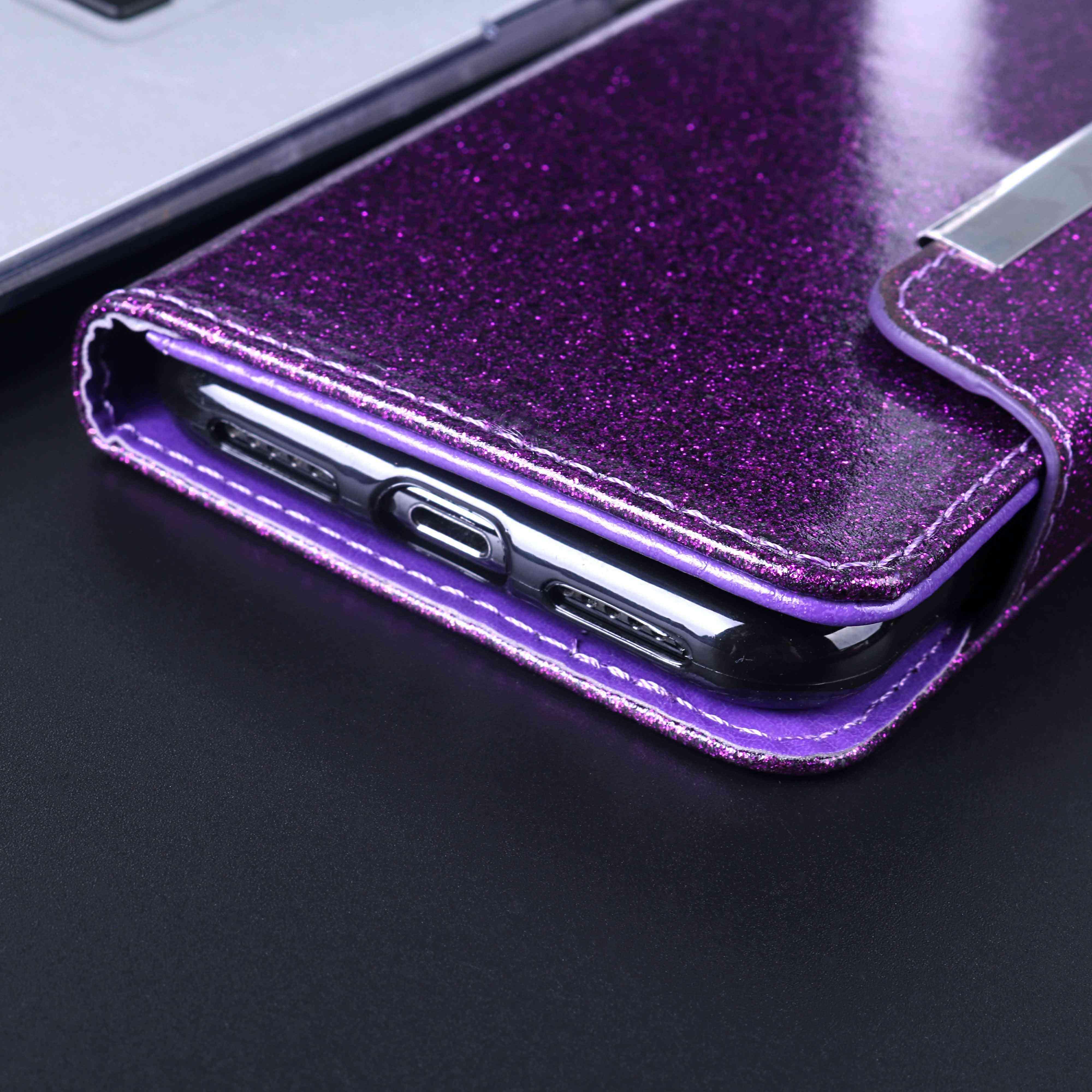Ze smyczą do HUAWEI Y5 2017 portfel etui Glitter błyszczący diament błyszczący telefon FittedCase z kieszeń na kartę Kickstand Flip Case