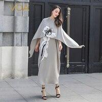 VOA серый плащ рукавом Китайский 3D платье с вышивкой Винтаж 100% шелк накидка Длинные платья Для женщин свободные vestidos поддельные из двух часте