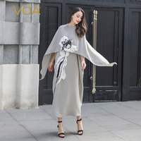 VOA Grey Cloak Sleeve Chinese 3D Embroidery Dress Vintage 100% Silk Cape Long Dresses Women Loose vestidos Fake Two Piece A10125
