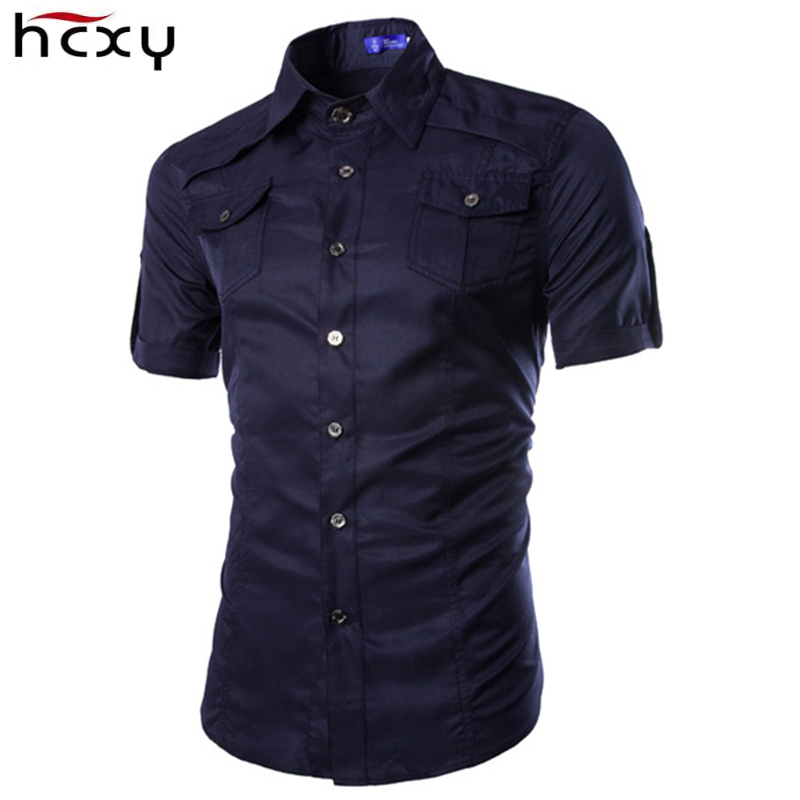 HCXY 2017 new mens short sleeve military shirt high quality casual crimping many pockets brand camouflage shirts men