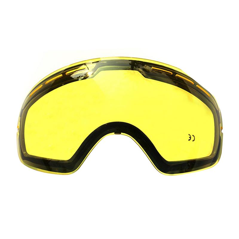 Doble brillo de esquí para esquí gafas de luz débil Tint tiempo nublado máscara de esquí lente de reemplazo