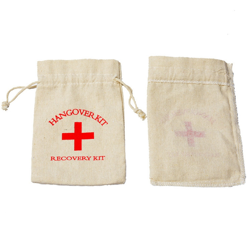 10pcs Hangover Kit Wedding Souvenirs Holder Bag Linen Gift First Aid Gift Bags Party Favors For a Holiday Hand Made