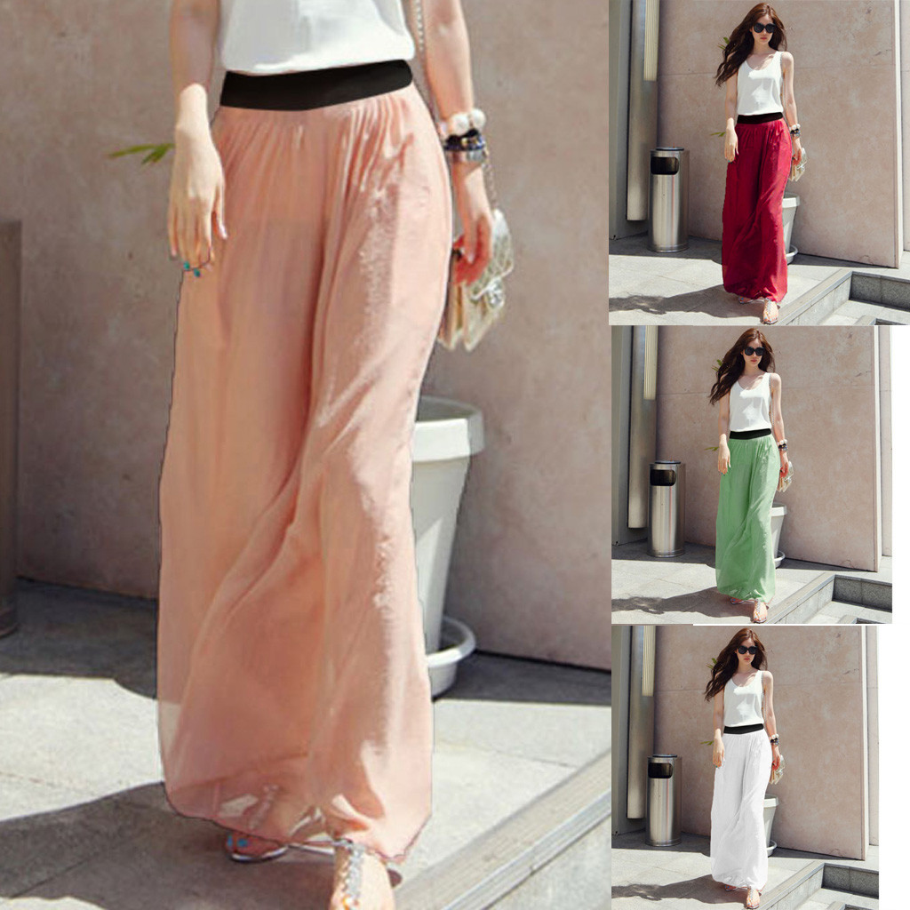 Purple Skirt Spodnica Damska Steampunk Skirts Plus Size Womens Casual Solid Stretch High Waist Flared Pleated Long Skirt Z4