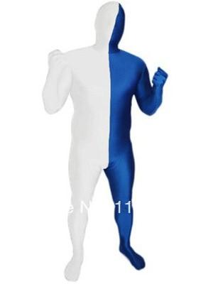 White & Blue Split Lycra Spandex Full body Zentai Suit