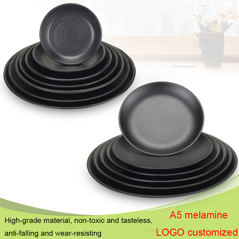 High Quality A5 Melamine Round Dinner Plates 22.8cm Black Melamine Plates Dishes For Hotel Restaurant Buffet Plate