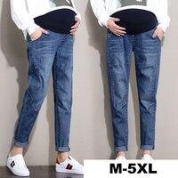 Denim Pregnancy Pants Plus Size M-5XL Clothes for Pregnant Women Elastic Waist Belly Pant Cotton Jeans Trousers for Maternity